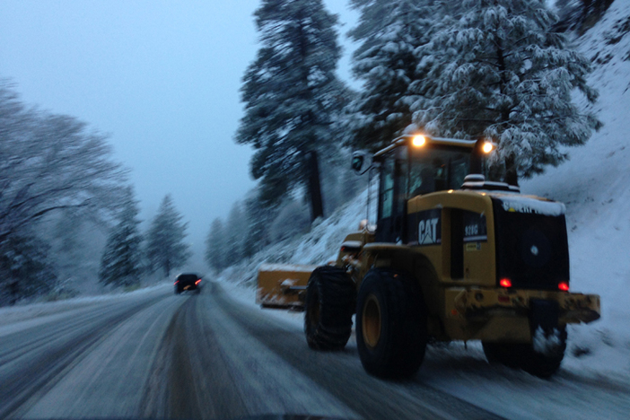 Plowing the roads on the way up to the resort.