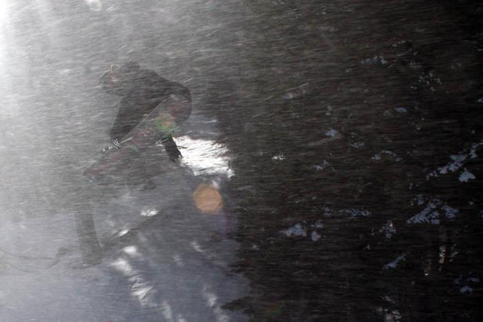 Blasting through yesterday's snow storm.