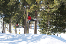 Spencer Link testing out the new spine with the best trick in Snowboarding.