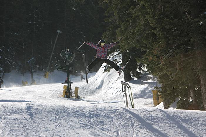Practicing 80s ski moves.