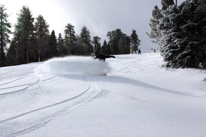 Slashing through the new snow.