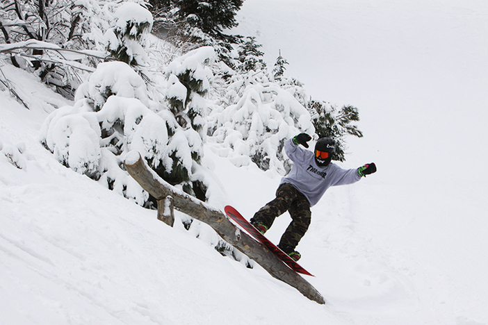 The all natural Woodworth Gulch Terrain Park is the place to be when there's fresh snow!