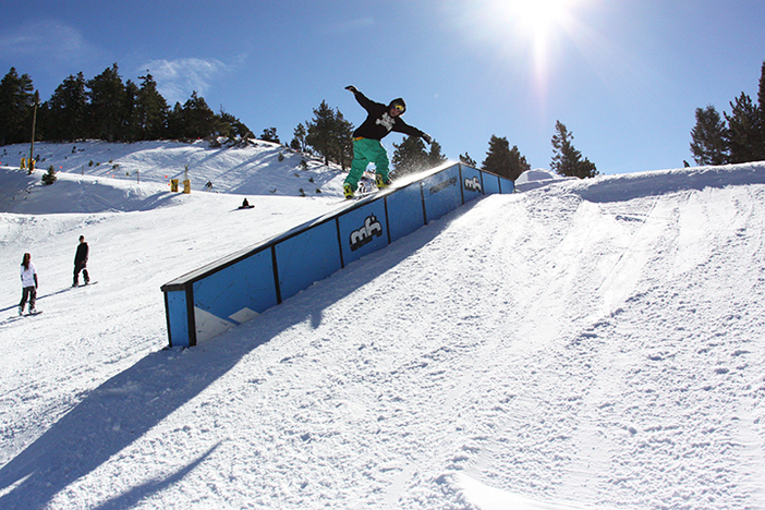 Hit the quarter pipe before jibbing Lower Chisolm.