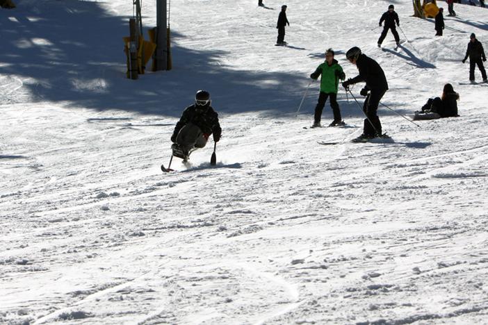 Gettin some on the uni-ski.