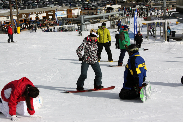 New riders learning proper form with Winter Sports School.