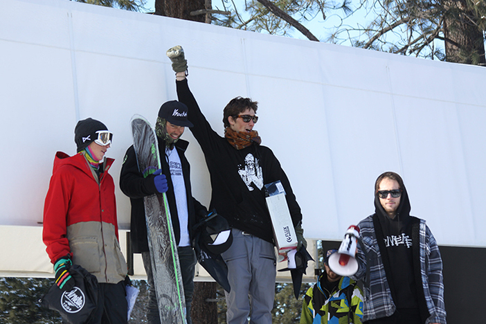Zach, Jacob, and Nick celebrate their wins with team rider Nick Visconti!