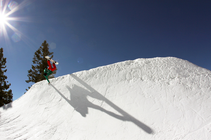 Going huge on the quarterpipe.