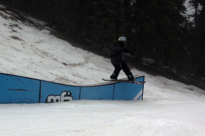 Caleb hitting the roller box.