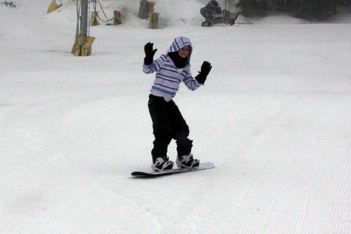 Having fun on the bunny slopes.