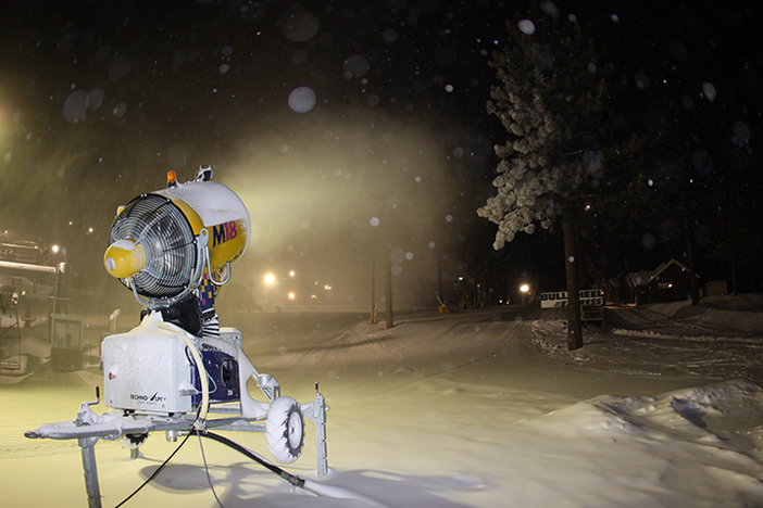 one of our new snow guns adding to the base of packed powder.