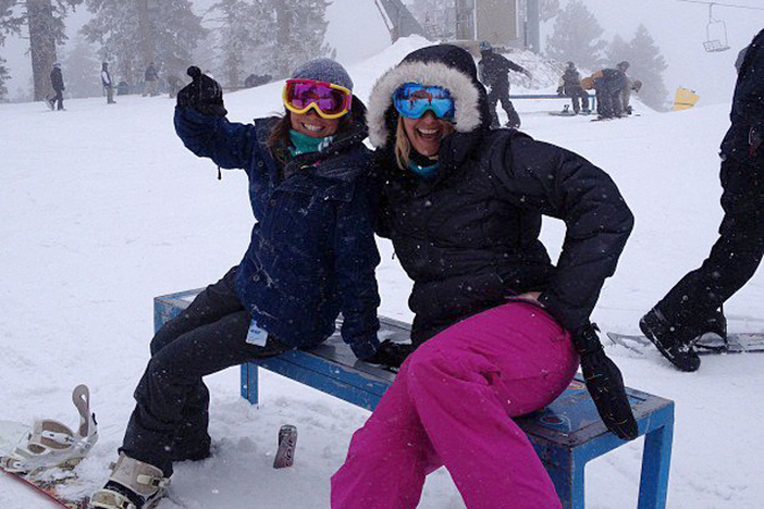 The girls getting ready to track up the fresh powder.
