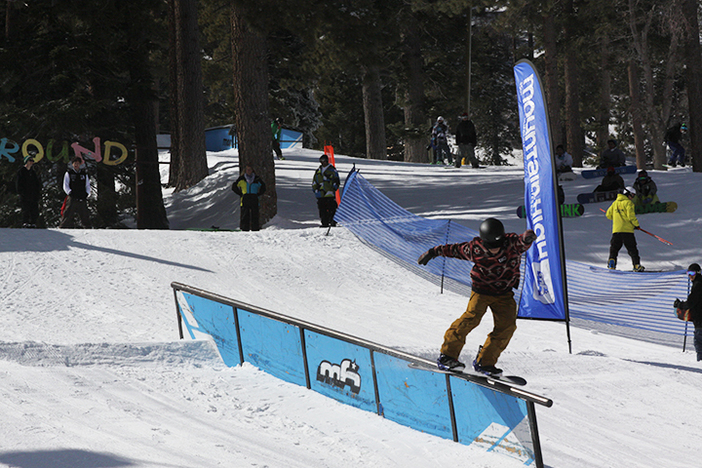 Keoni finishing off a stale fish to board slide in the Smith Optics Grudge Match