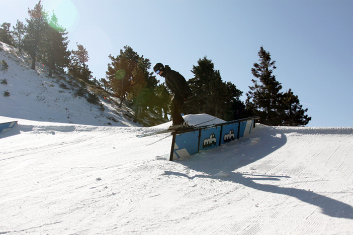 The skiers are getting in on the park features as well.