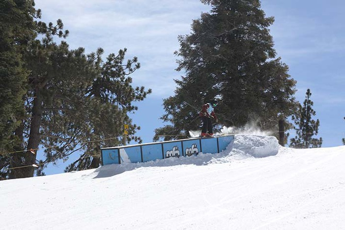 USASA Slopestyle on the pipeline had competitors jibbing and jumping.
