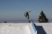Curtis getting the shot on the up rail.
