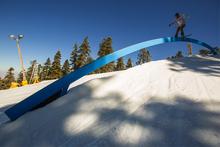 Nick Guin board sliding the Rainbow Rail.