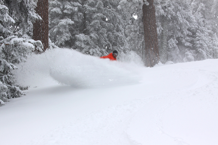 Blasting through the new pow on Hunts.