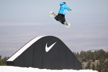 Brandon throwing a hammer at Nike's Snake and Hammers Banked Slopestyle.