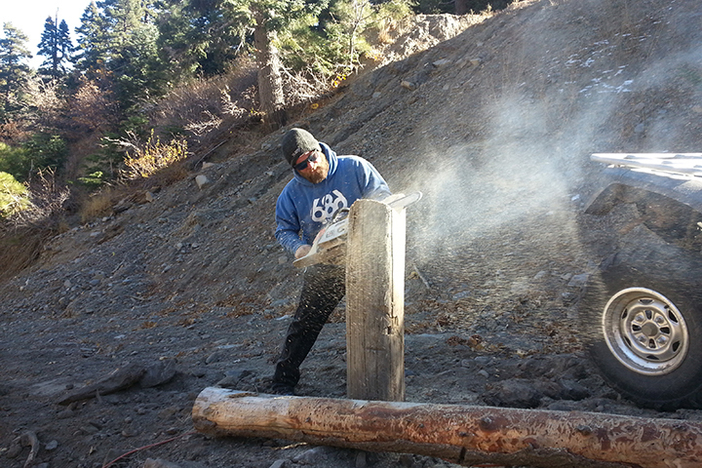 Terrain Park Manager Rick shaping some new Woodworth jibs