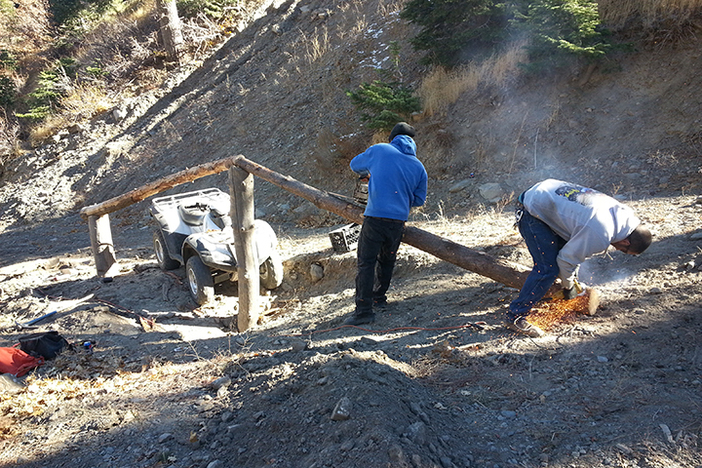 The boys setting up a natural feature in the gulch.