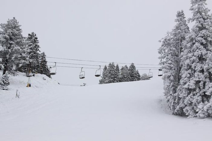 Looking down a snowy run at West.