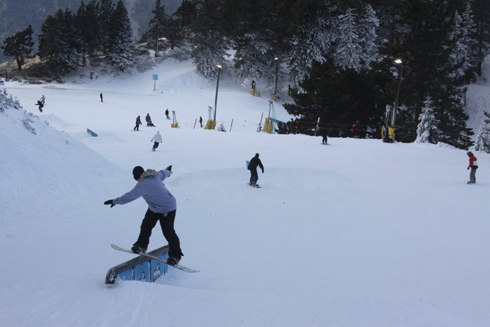Top to bottom terrain park features with something for everybody.