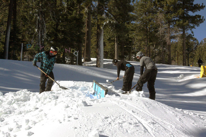 The park crew always working hard to keep the features in top shape