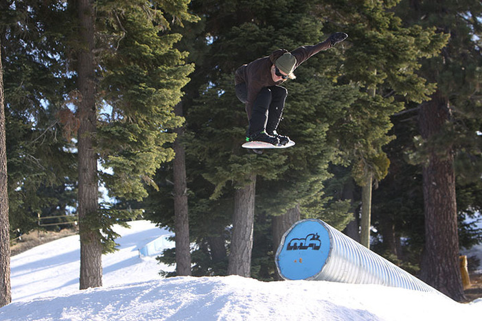 Nick Strother airing off the corrugated tube on Boarderline.