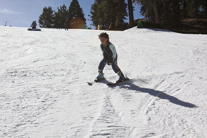 Making his first turns down Lower Chisolm.