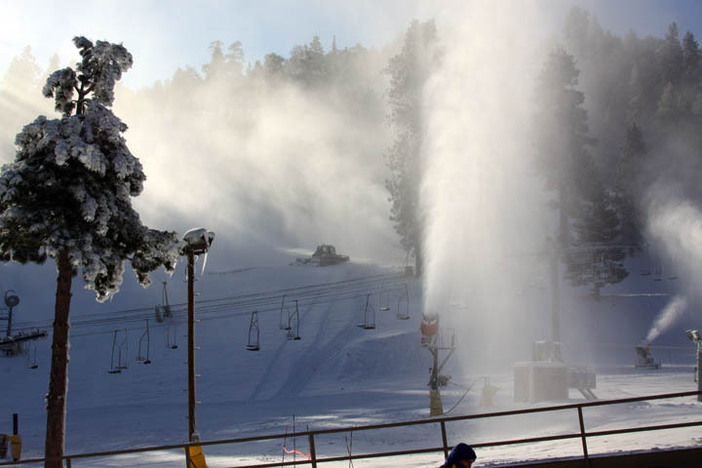 Early morning snowmaking in full production.