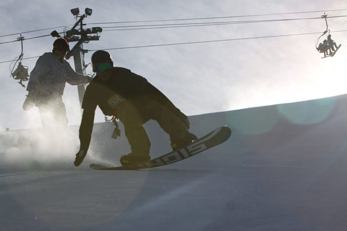 Early morning slashes down Upper Chisolm.