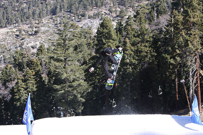 Nick spinning off the Lower Chisolm jump.