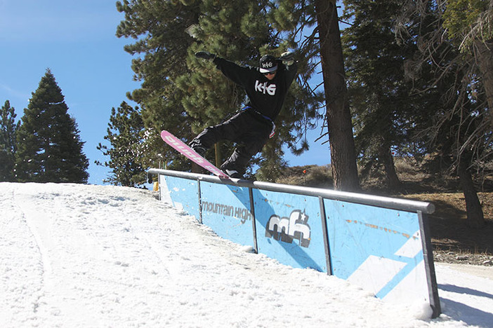 Team rider Cory Cronk killin the down rail top of Lower Chisolm.