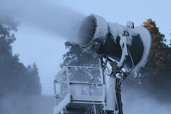 Fan guns cranking out fresh snow.