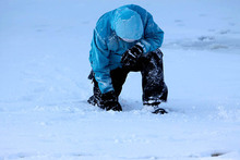 """Snowmaker  accidental """"tebowing"""" as he's deep in thought."""