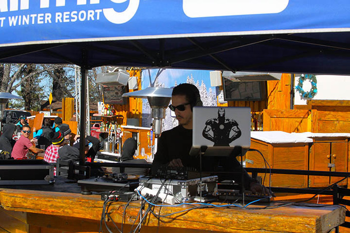 DJ Nestie spinning on the sun deck