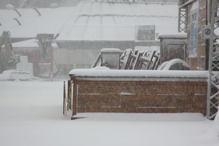 Fresh snow covers the Big Pines BBQ.