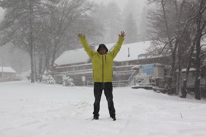 Chris couldn't be happier about the new snow.