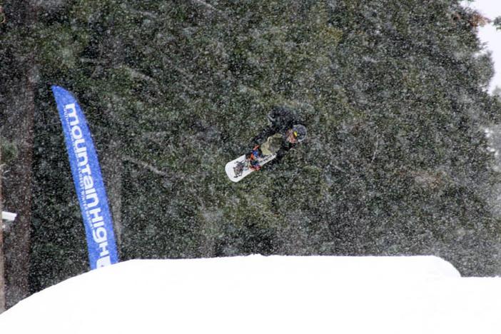 Boosting through the snow.