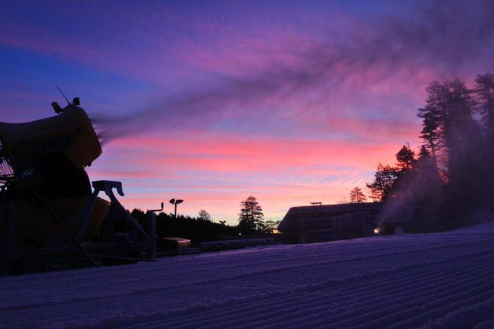 Snowmaking sunrise.