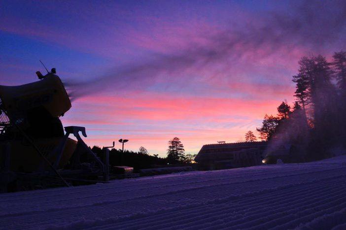 Snowmaking sunrise.