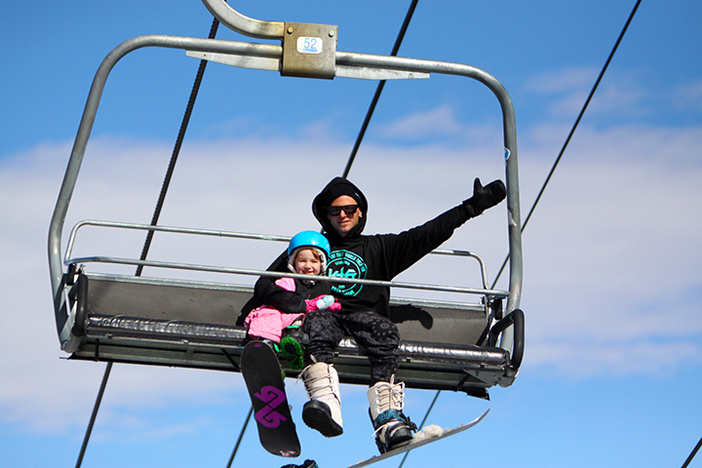 Cronk chilling on the chair lift.
