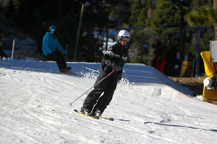 Skiing the soft, spring snow.