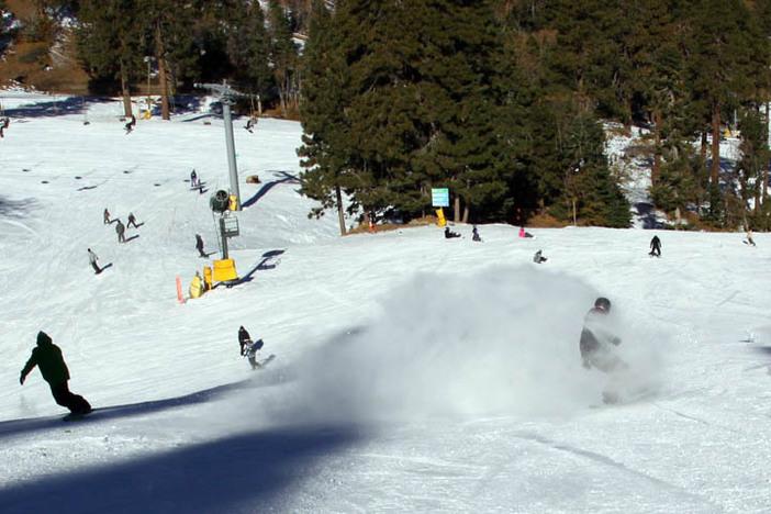 Slashing some snow down Wyatt.