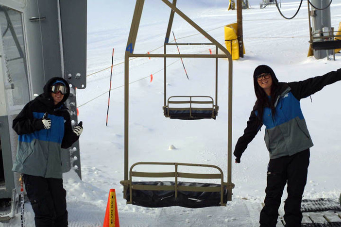 Take a ride on the Coyote chairlift today and be greeted by these two cheerful employees.