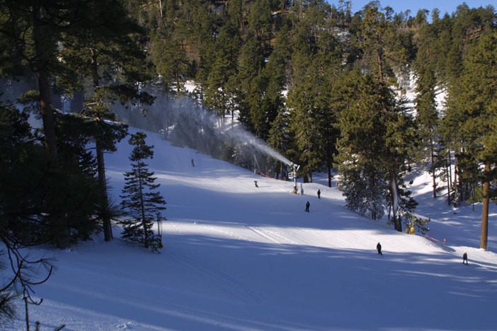 Early morning snowmaking to freshen up the runs.