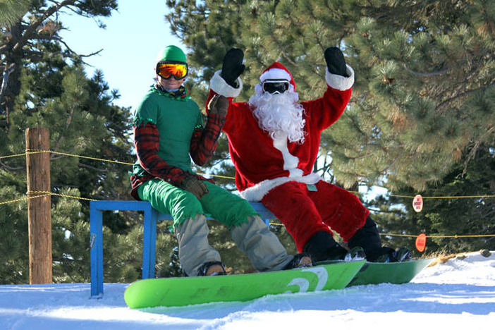 Chris Kringle and his head Elf getting ready to hit the slopes.