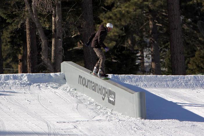 Concrete ledge in a ski resort.... check!