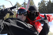 Dave Downing and Jussi Oksanen having an awesome time at Mountain High!