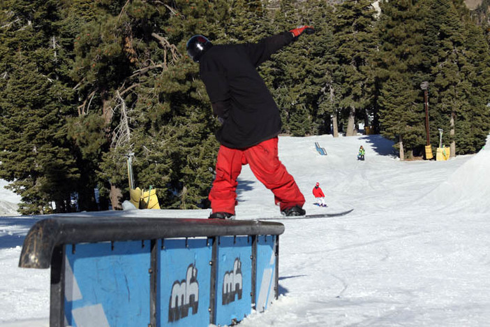 Blake Lopiccolo front boarding the Dome Rail on the Wedge.